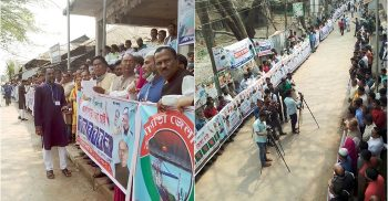 Human chain formed for making Kalapara a district
